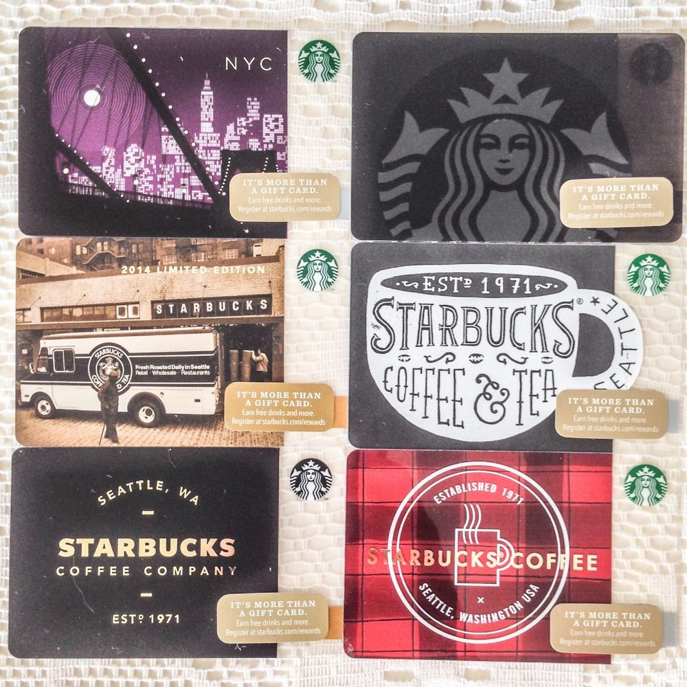 Lot of 6 Starbucks Gift Cards 99 Cards Collection 2014 Limited ...