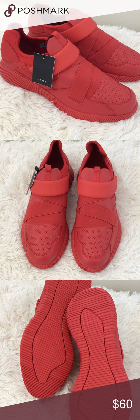 Zara Man Sneakers, Size 45 Trendy red men's synthetic cross trainers. Like new, worn once for photo shoot. Zara Shoes Sneakers - mens shoes dress, mens shoes in usa, leather mens shoes