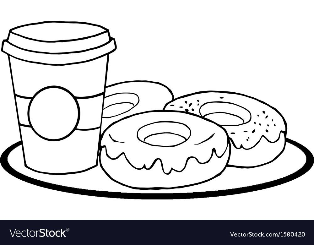 Cartoon Donuts Vector Image On Coloring Pages Inspirational