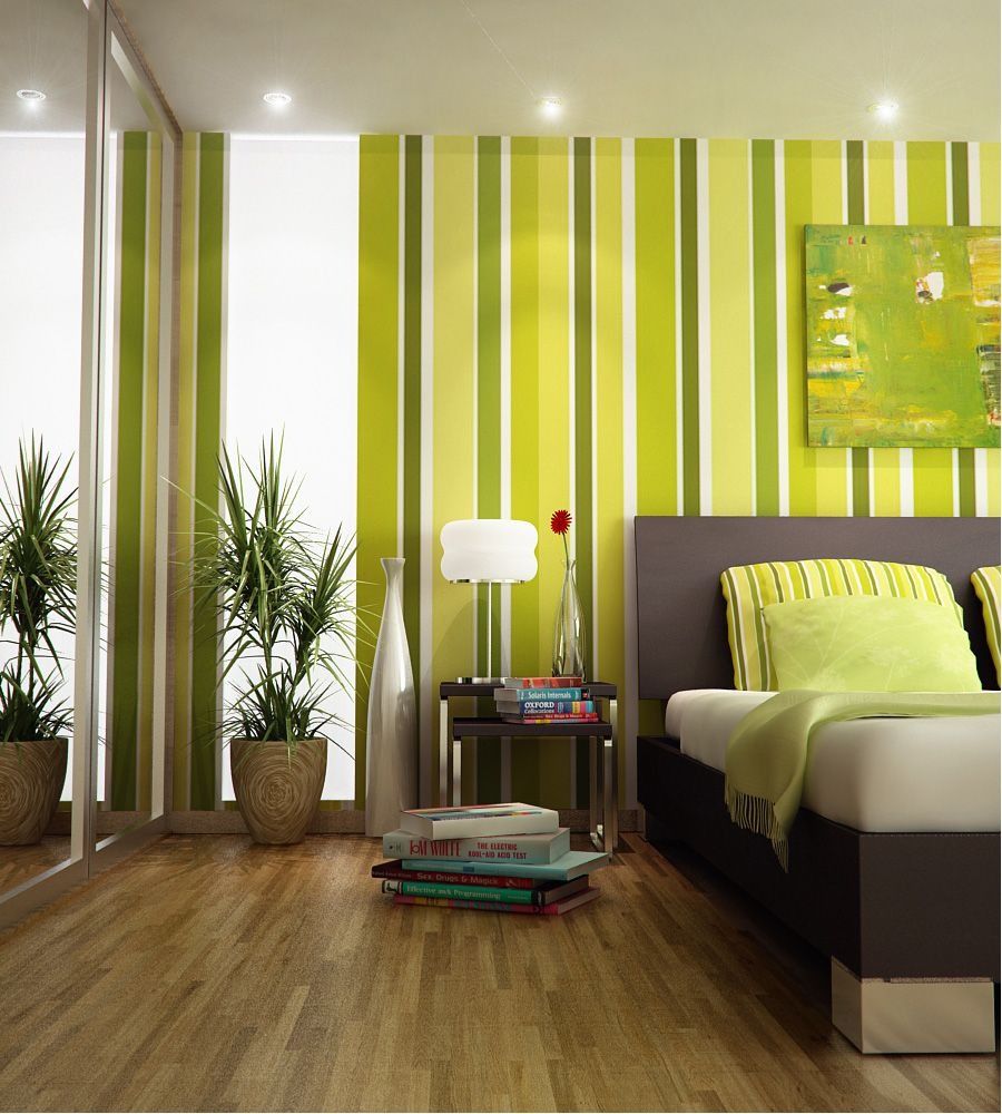fancy-light-green-girls-bedroom-design-with-green-wall-stripes-and ...