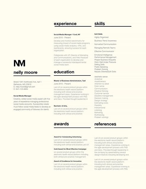 Classic Resume Template 110760  Resume / Curriculum Vitae