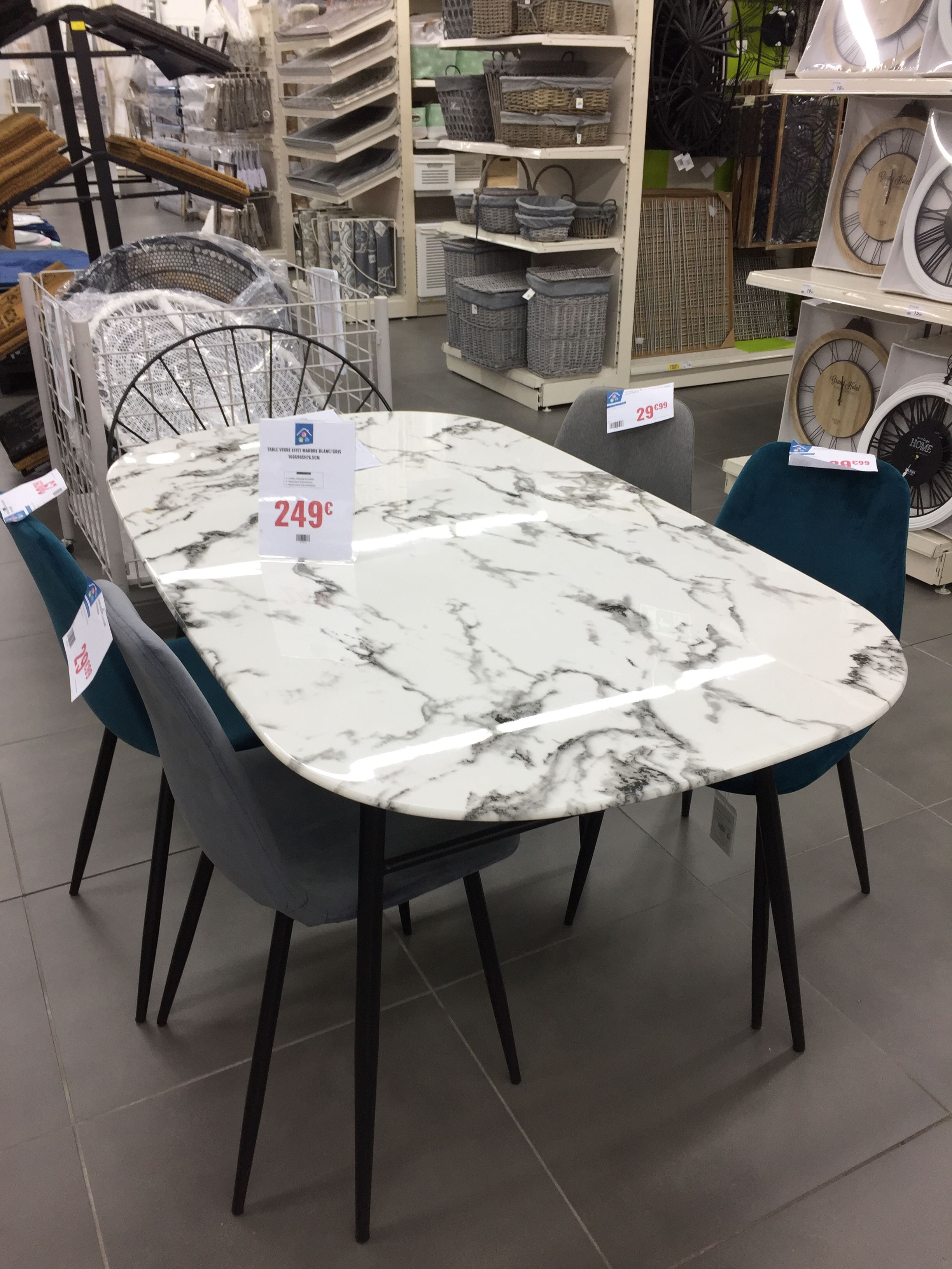l incroyable table effet marbre blanc