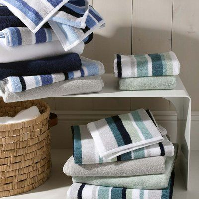 Blue Green White Striped Towels Matouk Lighthouse J Brulee