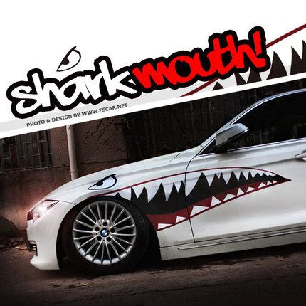pas cher shark teeth mouth 1 par cool voiture de mode r fl chissant auto decal sticker side. Black Bedroom Furniture Sets. Home Design Ideas