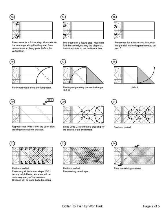 Koi fish diagram 2 of 5 money origami dollar bill art for Dollar bill koi fish