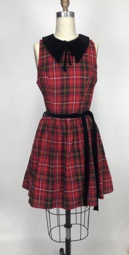 dab687d5ff462 NWT-ModCloth-1950s-Folter-Retrolicious-Red-Plaid-Velvet-Holiday-Holly-Dress
