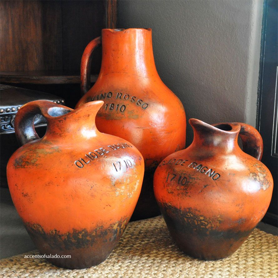 New Aged Orange Pottery Tuscan Decor Statues Vases