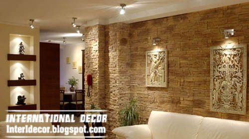 Modern stone wall tiles design ideas for living room Tiles for hall in india