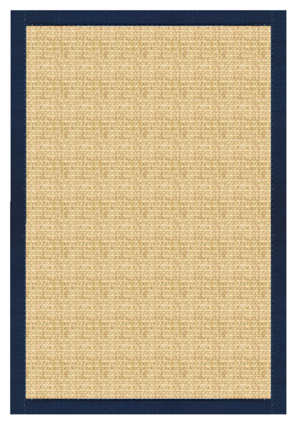 Sustainable Lifestyles Sand Sisal Rug With Navy Blue Cotton Border Poshrug