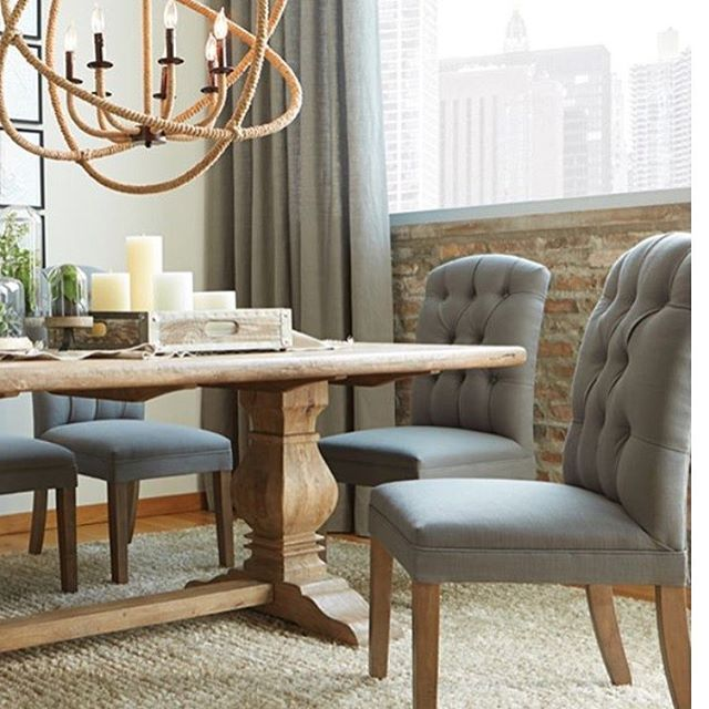 Loving The Look Of This Dining Room Table And Chairs I Bought At Artvanfurniture It L Farmhouse Dining Room Modern Farmhouse Dining Room Rustic Dining Chairs