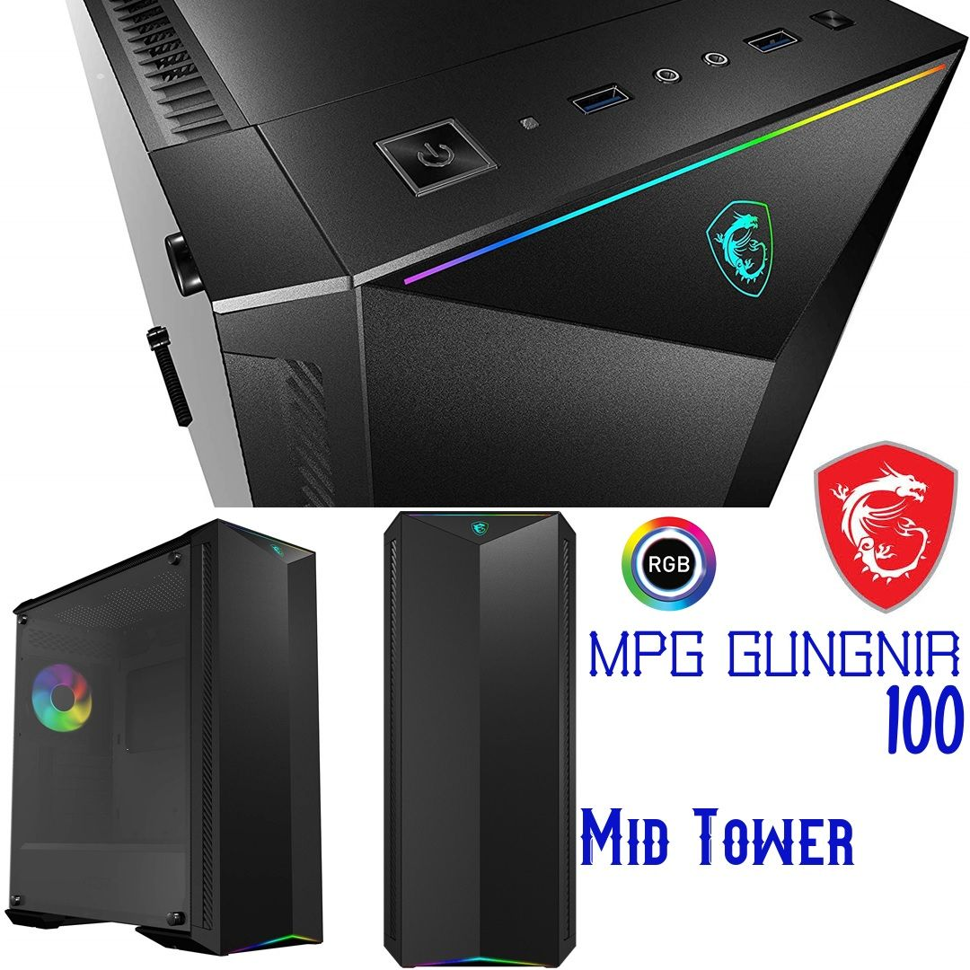 Msi Mpg Gungnir 100 Atx Case Mid Tower Tempered Glass Rgb