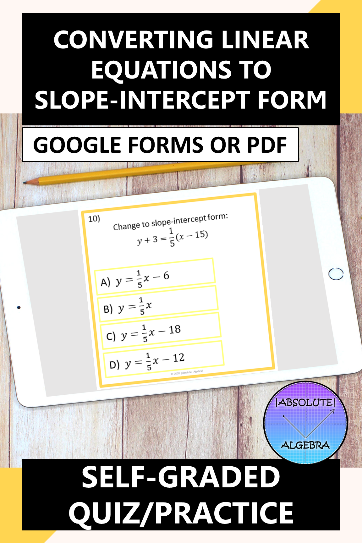 Converting Equations To Slope Intercept Form Forms