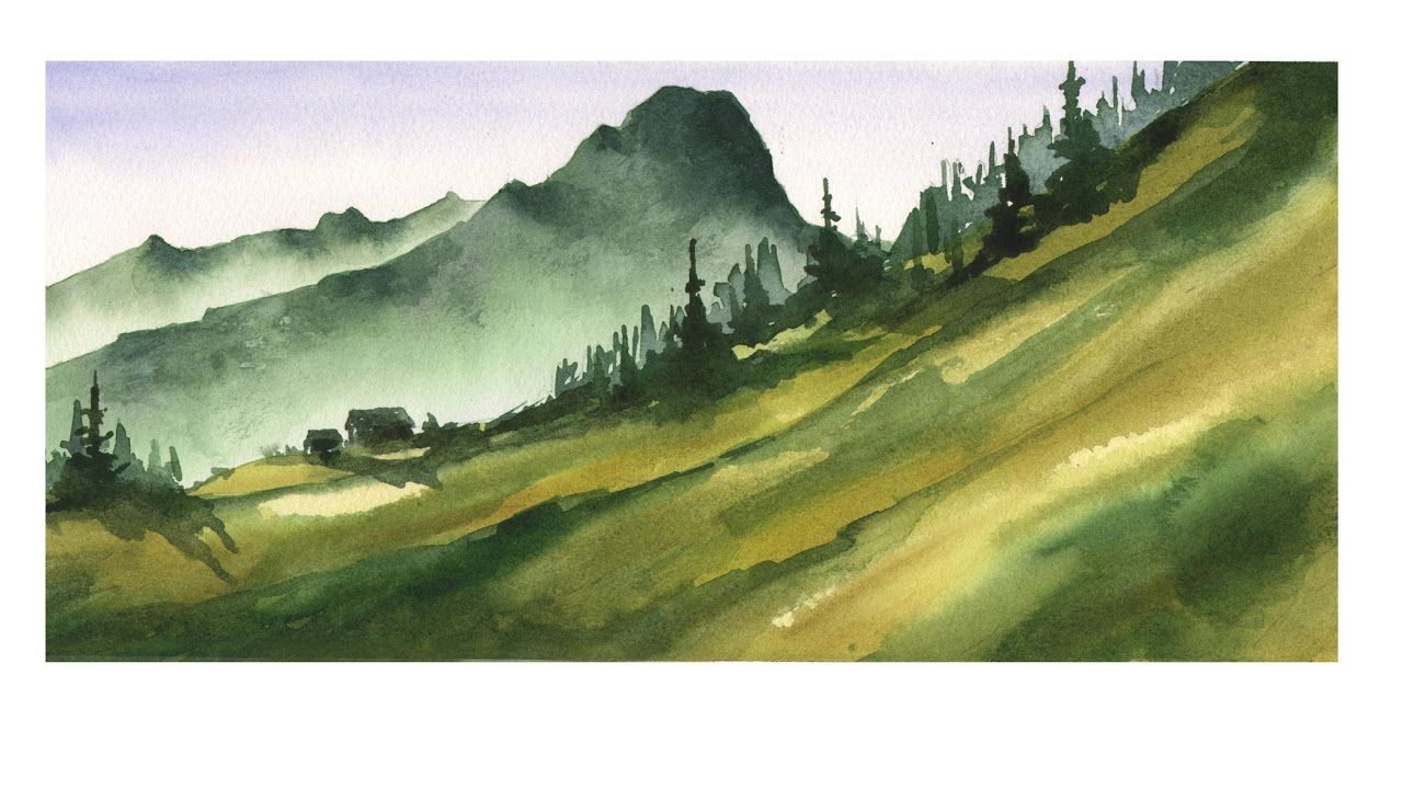 Watercolor Landscape Tutorial Aquarell Landschaft Tutorial