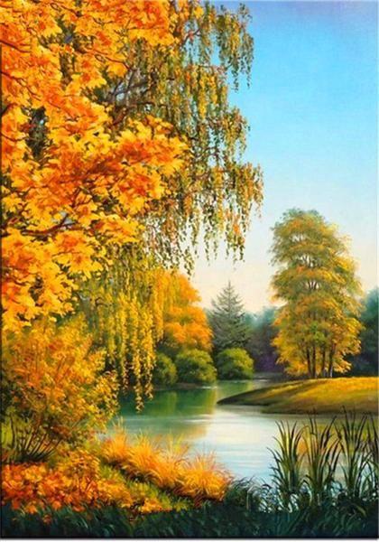5D Diamond Painting Autumn Trees Lakeside Kit   Paisajes ...