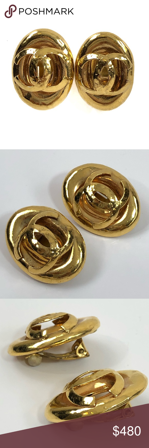 CHANEL Vintage Logo Gold Plated Oval Clip Earrings Clip