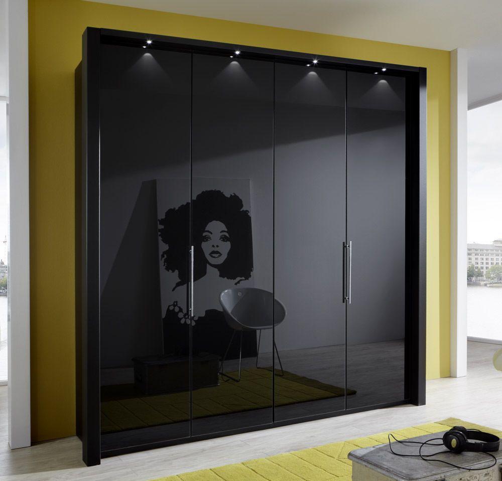 Kleiderschrank mit Gleittüren 4türig. Glasfront Modell
