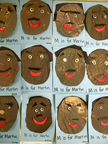 The many faces of Dr. Martin Luther King, Jr. preschool art activity