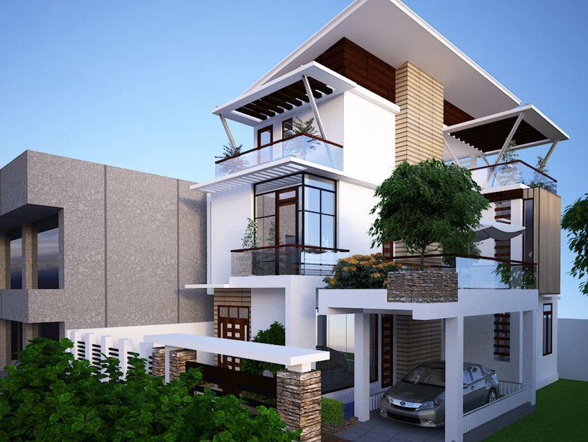 Fachadas para casas de tres pisos modernas, 48 imágenes, ideas y