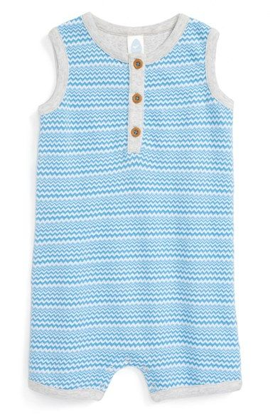 b87935cb3 Free shipping and returns on Stem Baby Organic Cotton Romper (Baby Boys) at  Nordstrom.com. Zigzag stripes and heathered trim make…