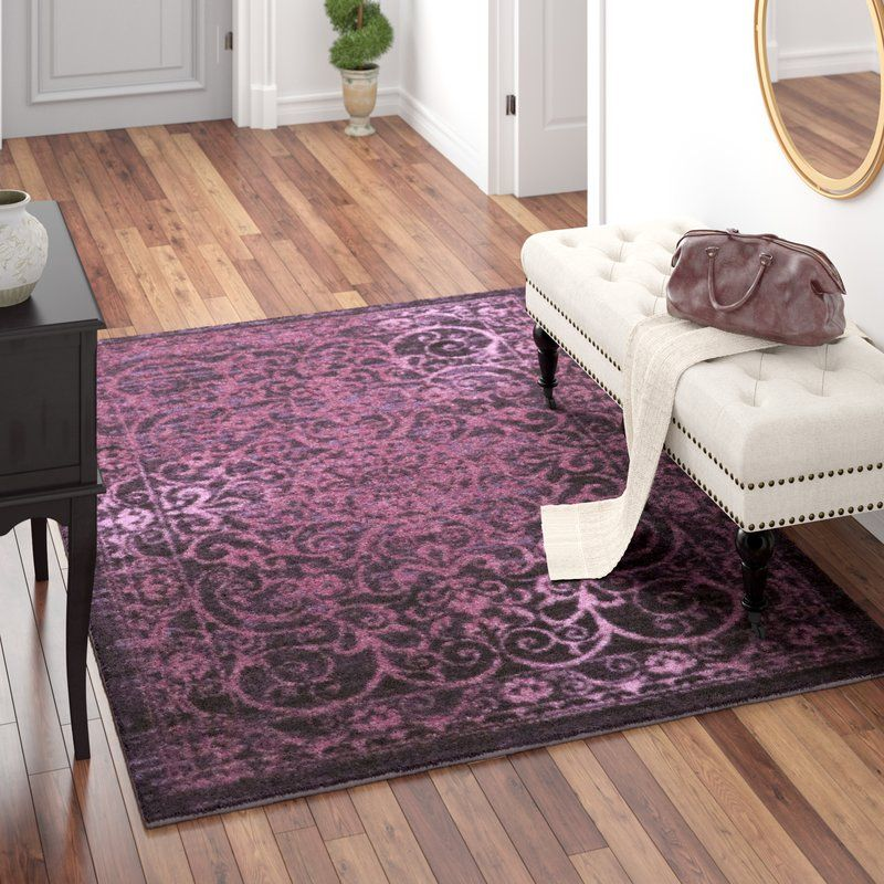 Landen Distressed Tulip Wood Wineberry Area Rug Purple Area Rugs
