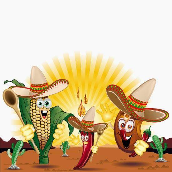 Caricaturas De Alimentos Mexijanos Vector Diseno De Arte Grafico Dibujos Frutas Y Verduras Impresion En Lona