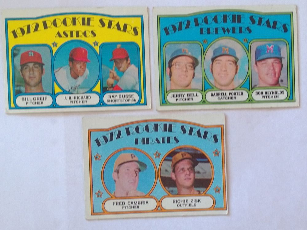 3 TOPPS 1972 ROOKIE STARS, BREWERS, PIRATES, ASTROS