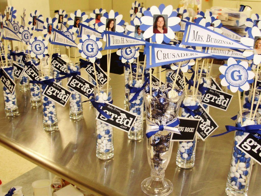High school graduation party centerpieces home outdoor for Outdoor decorating ideas for graduation party