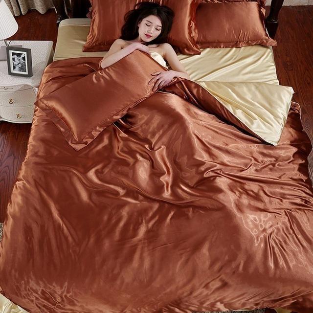 100% Pure Satin Silk Bedding Set Queen Size Bed Sheet Sets Bedclothes Solid Duvet Cover Set Sheet King Size Bedding Linens