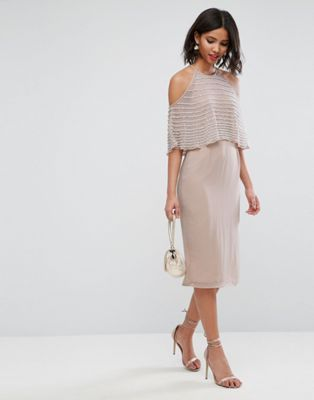 eb03f9d67bfbaa ASOS Pearl Embellished Crop Top Midi Pencil Dress