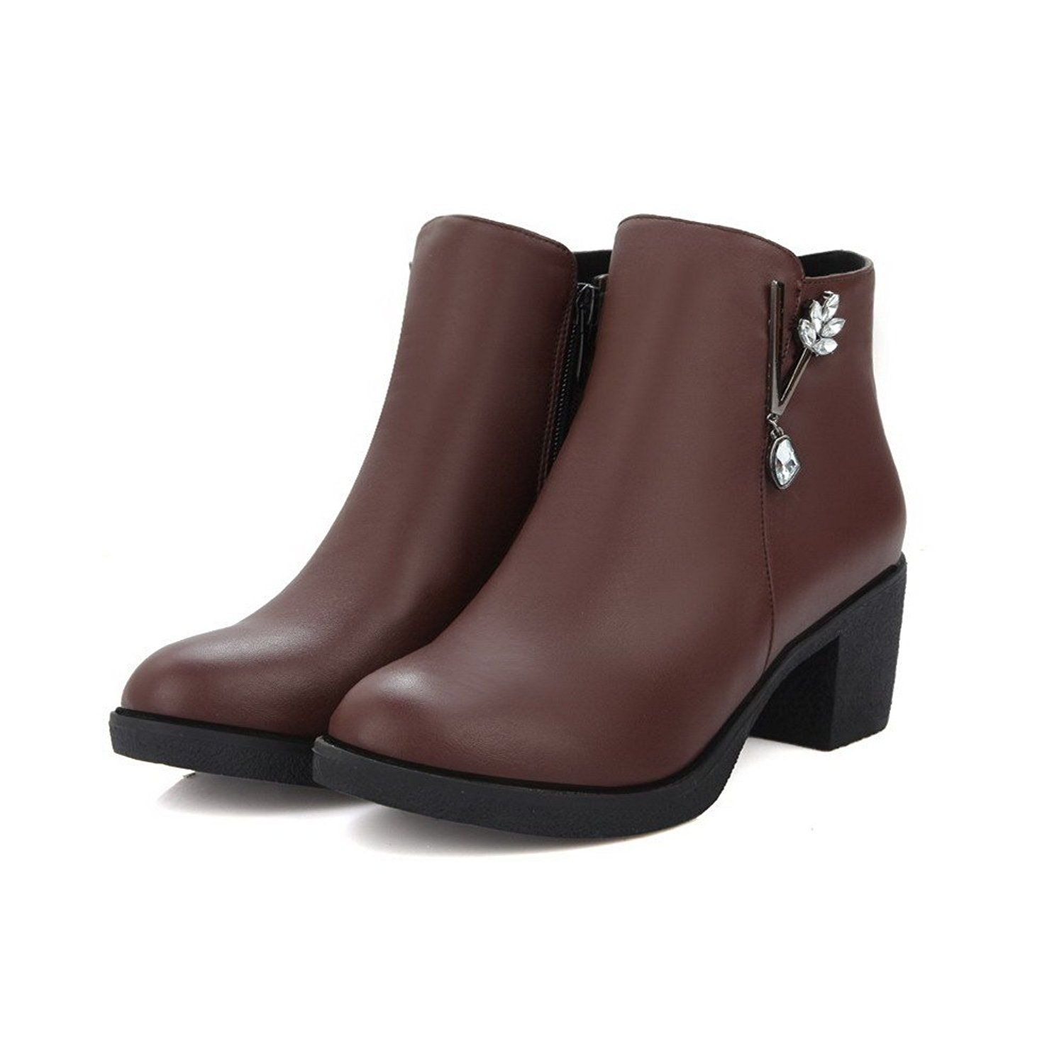 Women's Soft Leather Round Closed Toe Solid Low-Top High-Heels Boots