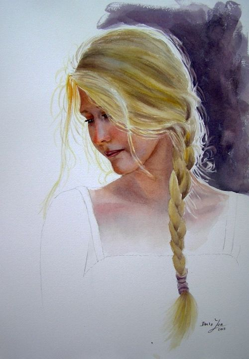 Watercolor Paintings By Doris Joa Portrait Female Portrait