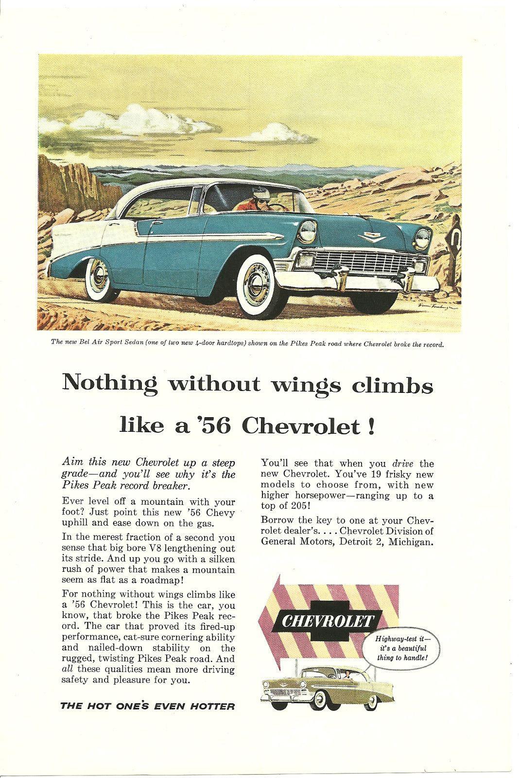 Chevrolet 1955 Bel Air ad for Pike's Peak Road Challenge