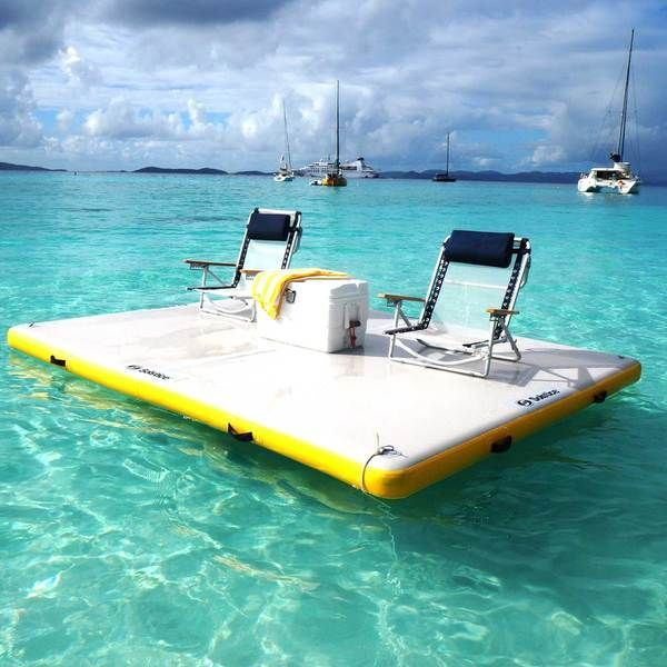 The Solstice Floating Inflatable Dock Measures 10 X 8 Ample Room To Set Up Some Beach Chairs And Relax Add A Cooler An Umbrella