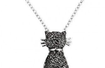 Victoria Townsend Sterling Silver Necklace, Black Diamond Accent Cat Pendant $12