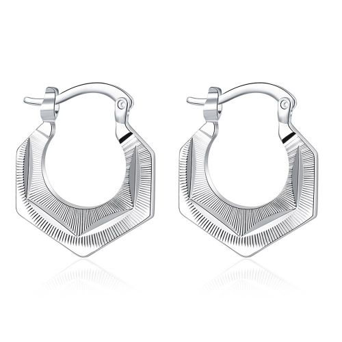 Chic Fashion Silver Color Round Shape Ear Hoops for Women
