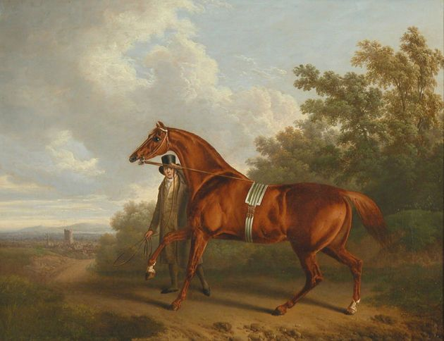 1819 'A Chestnut Hunter with his Groom in a Landscape' - Charles Towne
