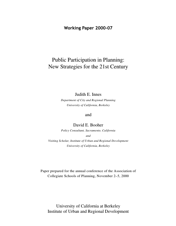 Innes 2000: Public participation in planning new strategies for the 21st century