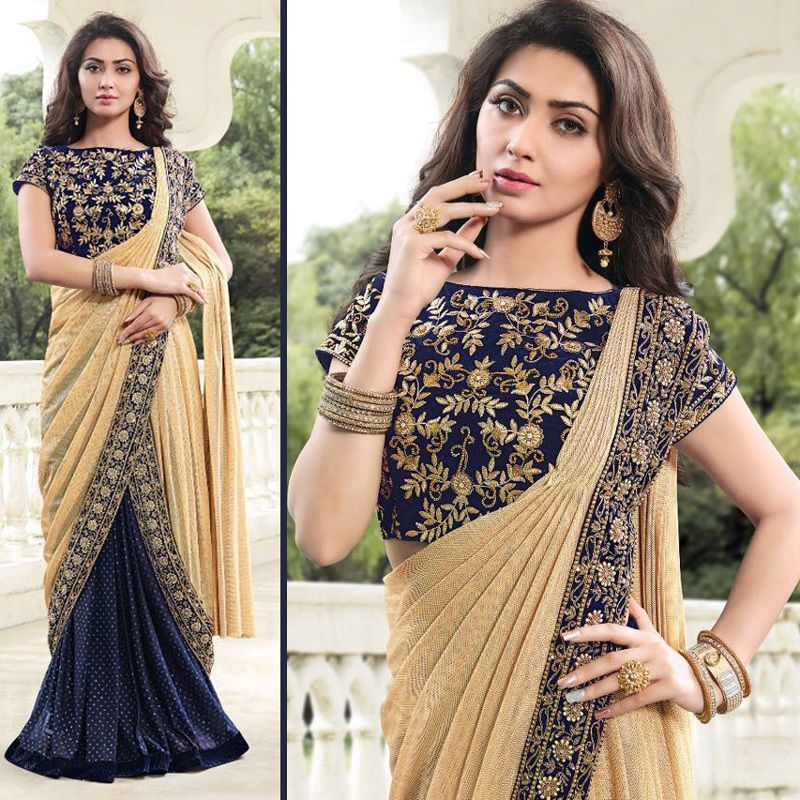 Designer Sarees Bollywood Blue Color Sari Wedding Bridal