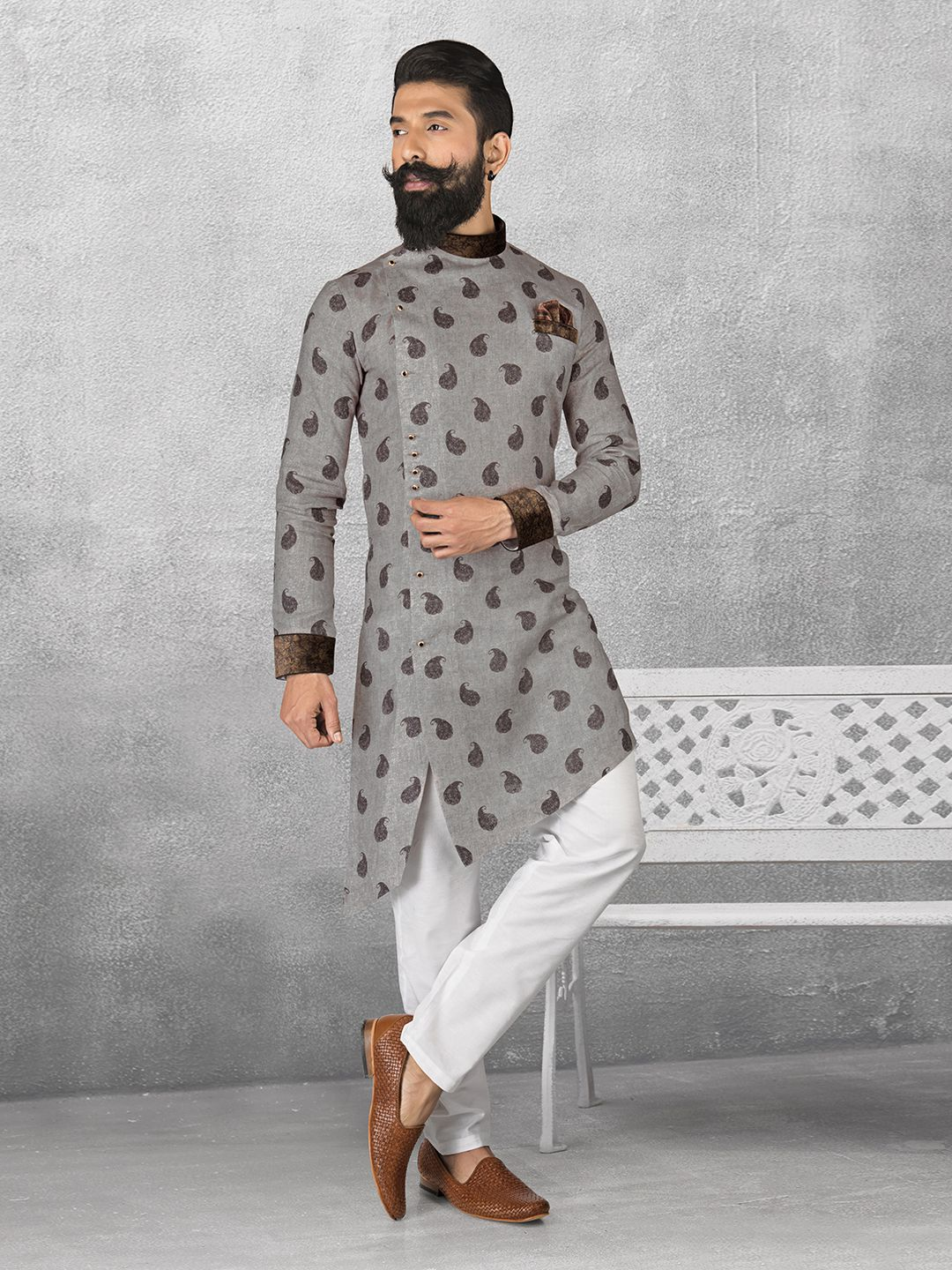 f2b4f9144e Shop Linen grey color printed kurta suit online from G3fashion India. Brand  - G3, Product code - G3-MKS0510, Price - 5295, Color - Grey, Fabric - Linen,