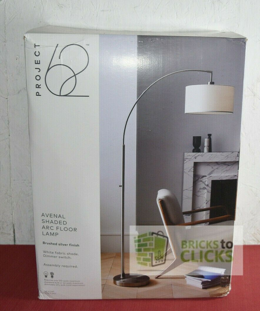 Details about Project 17 Avenal Shaded Arc Floor Lamp Brushed