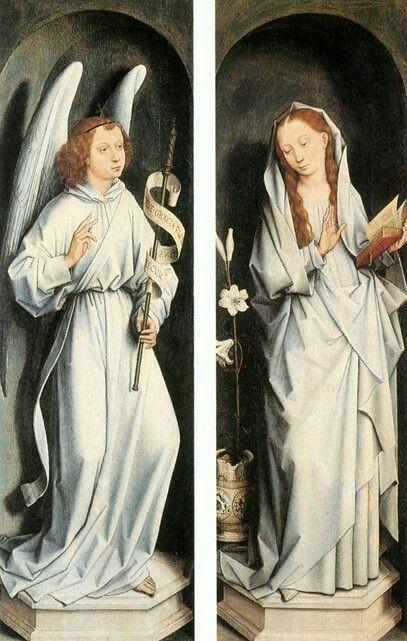 Благовещение: 1467-70 Благовещение, A гризайль выполнен в виде живой картиной, служит примером раннего стиля художника (около 1467-70), который был до сих пор сильно напоминает Ван дер Вейдена.