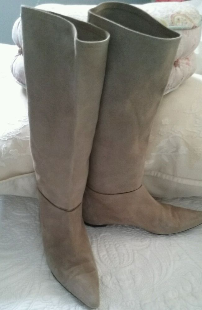 Cole Haan Womens sand beige Casual Suede Tall Boots 7.5 M  #ColeHaan #Slouch