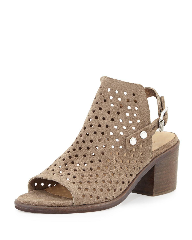 Wyatt Perforated Mid-Heel City Sandal, Warm Gray, Women's, Size: 38.0B/8.0B, Warm Grey Suede - Rag & Bone