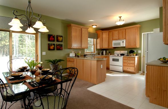 Kitchen And Dining Room Combo Open Light Green Walls