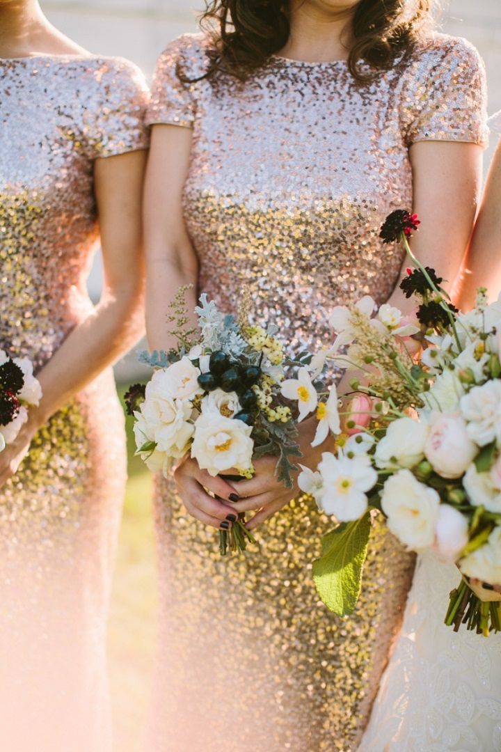 Glam Glittery bridesmaid dresses | Gold bridesmaid dresses  #wedding #bridesmaid #bridesmaids #bridesmaiddresses