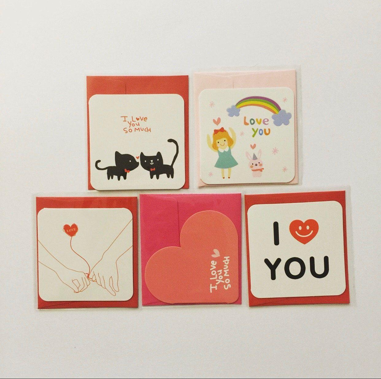 Mini Valentines Love Greeting Cards Set 5 Pcs By Twinklejujushop
