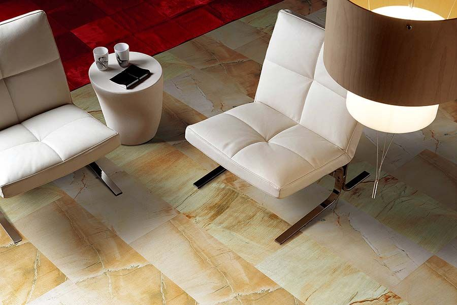 Beautiful Sandstone Effect Living Room Floor Tiles Used Here From