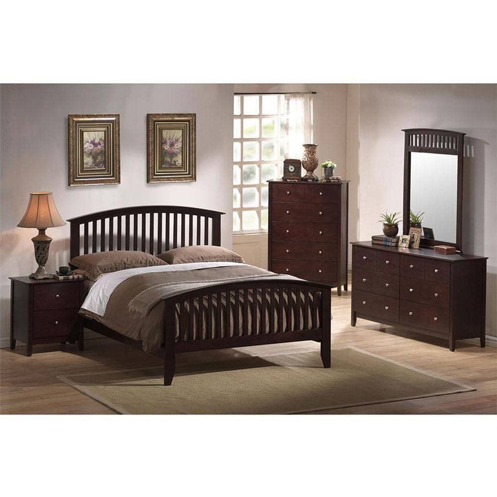 Saranda 5-Piece Cappuccino King Bed, Dresser, Mirror, Chest ...