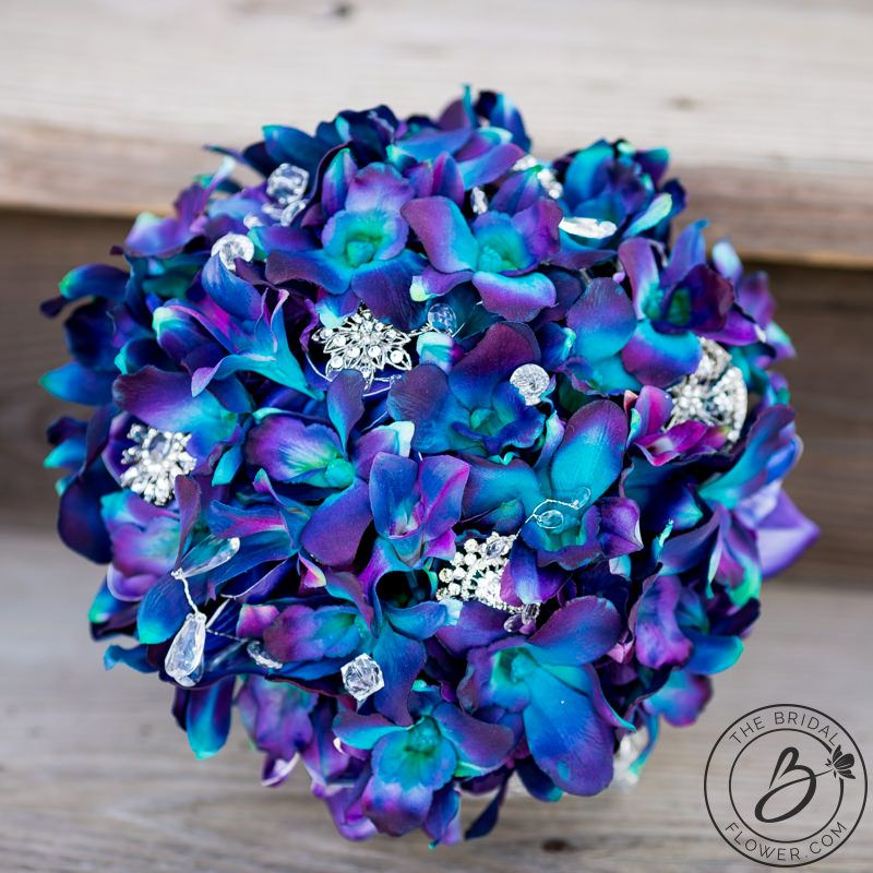 Purple Blue Galaxy Orchid Wedding Bouquet Real Touch Wedding