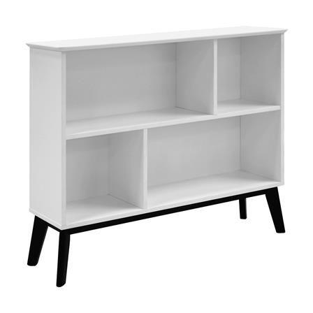 Century Low Bookcase White Ash Legs Black Paint